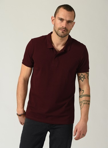 People By Fabrika Erkek Polo Yaka  Tişört PFESS21TS0007 Bordo